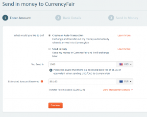 CurrencyFair transaction setup