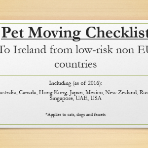 Pet Moving Checklist - to ireland from low risk non-EEA countries - IMC